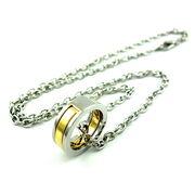 ゴールドラインリングネックレス ★ペア★メンズネックレス★指輪★記念日★バレンタイン★贈り物