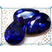 【ガラス製】ティア型カラービジュー 20×30mm サファイア 在庫処分品