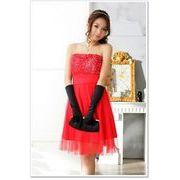 【赤F即納】大きいサイズ結婚式パーティーお呼ばれ胸元バラ可愛い姫様ドレス DC-LSFS-J3109