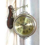 高級 壁掛け両面時計 エレガント ゴールド