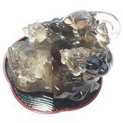 スモーキークォーツ(Smokey quartz) トラ彫刻/台付き