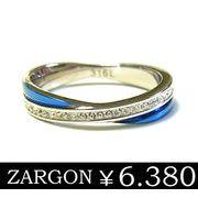 【ZARGON】ザルゴンダイヤモンドCZフルエタニティブルーステンレスリング/ステンレスアクセサリー
