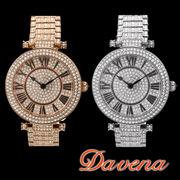 DAVENA ダヴェナ 腕時計 38mm スワロフスキー ラインストーン キラキラ回転腕時計【60523】