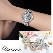 DAVENA ダヴェナ 腕時計 40mm スワロフスキー ラインストーン 話題のキラキラ腕時計【61050】