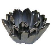 【在庫限り】マルエス 燭台 陶器製 ロータス 小 シルバー