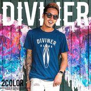 2017春夏新作★【DIVINER】インディゴサーフボードプリントTシャツ/メンズ トップス デニム