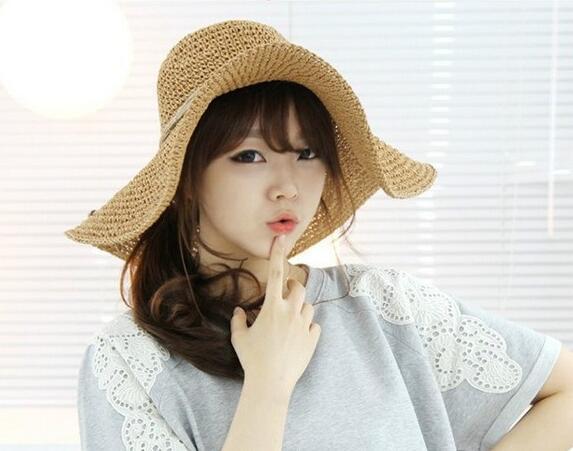 レディース麦わら帽子 ファッション 夏 ハット UV対策 つば広帽子 日よけ