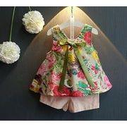 子供服 夏 上着+パンツ 女の子 ノースリーブ 2点セット キッズ服 花柄