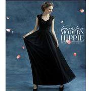 人気 上品エレガントパーティードレス 結婚式ウェディングドレス ロングドレス披露宴ファスナー黒