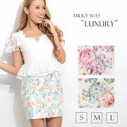 フローラルスカートペプラムワンピースドレス[milky way luxury line]
