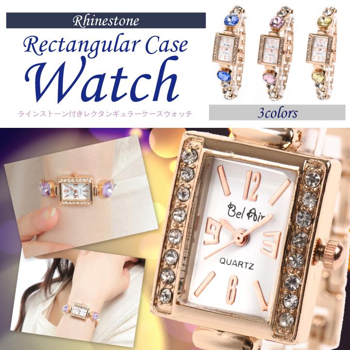 【Bel Air Collection】レクタンギュラーフェイス レディース腕時計 DNS13