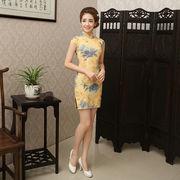 【即日出荷】黄色  ショート丈チャイナドレス コスプレ衣装【3140】