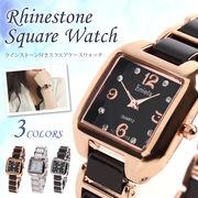 腕時計 レディース L'etoile レトワール RK10 ラインストーンインデックス スクエアウォッチ