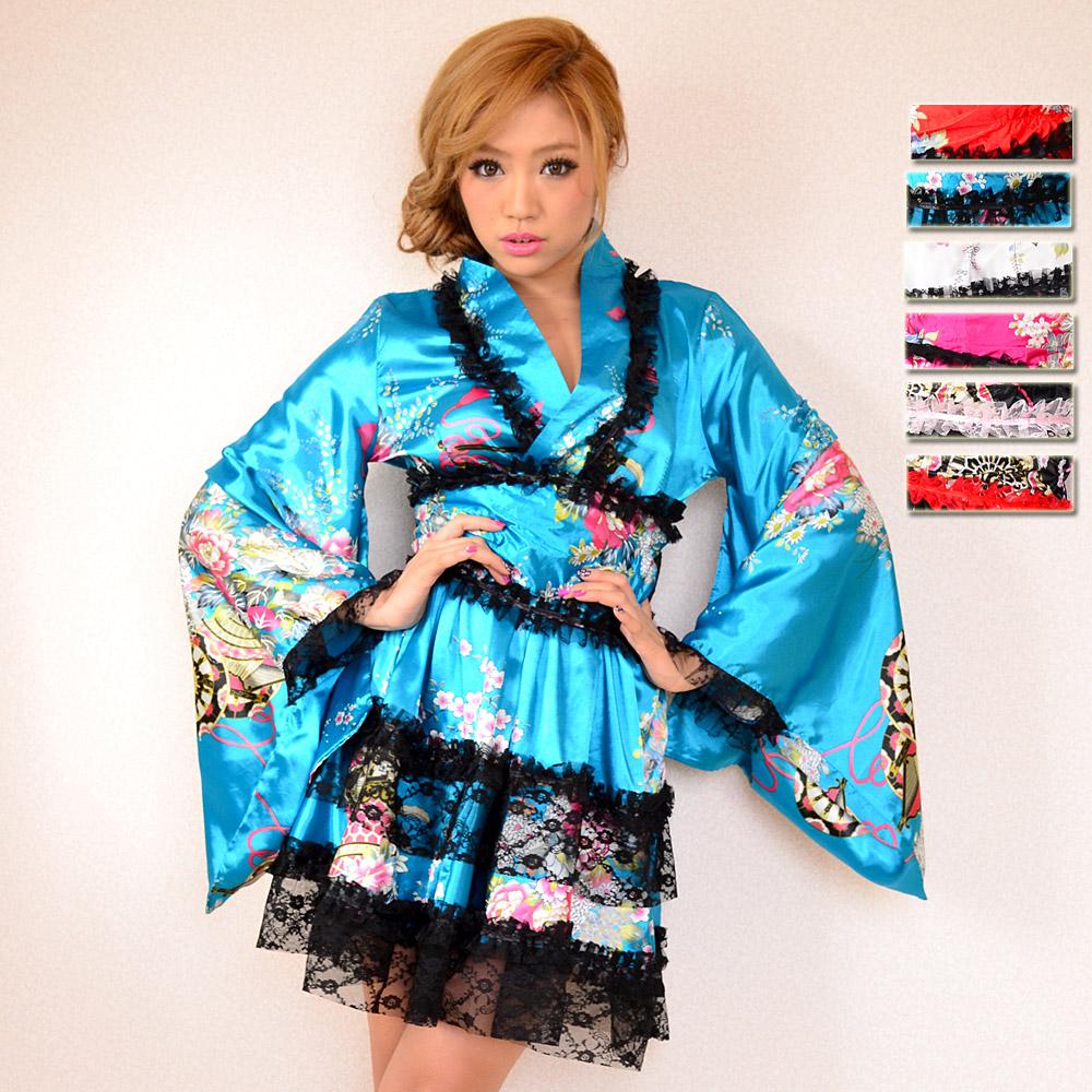 1002レースフリルリボンつきサテン花魁着物ドレス 和柄 衣装 ダンス よさこい 花魁 コスプレ キャバドレス