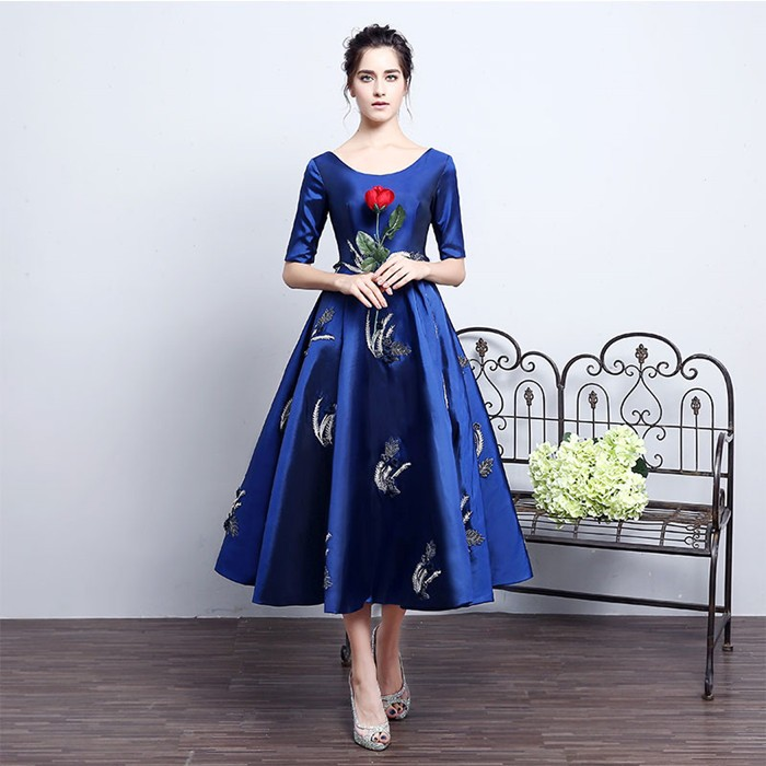b829f3110ac78 新作 高級感 パーティードレスエレガント 五分袖 ウェディングドレス ロング丈ドレス ロングドレス 刺繍
