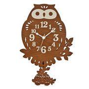フクロウ振り子時計(ブラウン)