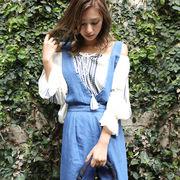 【春夏SALE】クリンクルシフォン刺繍ブラウス/エンブロイダリー/トップス