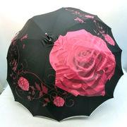 【雨傘】【長傘】一枚張りサンフラワー骨ビッグローズ柄ジャンプ雨傘