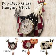可愛らしいデザイン【Pop Deco Glass】ポップデコガラスハンギングクロック【壁掛時計】
