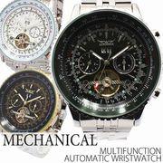 自動巻き腕時計 ATW003 トリプルカレンダー テンプスケルトン 回転ベゼル 機械式腕時計 メンズ腕時計