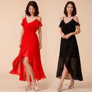 大きいサイズ フリル付きロングドレス 肩開き パーティードレス フィッシュテールドレス F/2L/3L/4L 9964