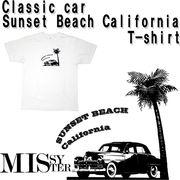 【受注生産】 MISSY MISTER クラシックカープリント(サンセットビーチカリフォルニア)Tシャツ 5枚売り