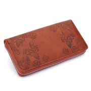 【ラウンドファスナー長財布】レザー調PU財布☆人気商品♪シンプルなブラウン
