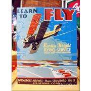 アメリカンブリキ看板 LEARN TO FLY -カーティス・ライト社-