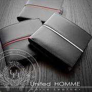 United HOMME 二つ折り財布 メンズ 馬革牛革 センターライン /1点仕入れ可