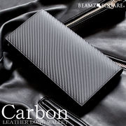 BEAMZSQUARE カーボンレザー×グレインレザー長財布BS-58517BK フルレザーブラック