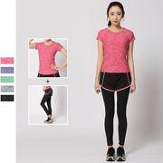 レディース スポーツウェア ヨガウェア Tシャツ 半袖 レギンス付き ショート パンツ 2点セット 全5色