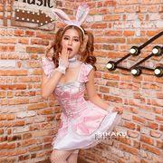 【即日出荷】ピンク色  バニーガール服  ミニスカ コスプレ衣装 ハロウィン【4189】