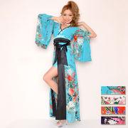 【再入荷】0380ゴージャスビジューシフォンロング着物ドレス 衣装 ダンス  花魁 コスプレ キャバドレス