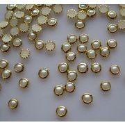 【短納期】ネイル用品 ネイルパーツ ラウンドメタルスタッズ ホワイト真珠 4mm 約1000粒