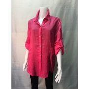 【大きいサイズ有り】涼しく快適な着心地、全2色刺繍入り麻100%長袖シャツブラウス