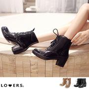 ヒール レースアップ レインブーツ【即納】靴 シューズ 長靴 ショート丈 編み上げ 紐靴 梅雨 雨具