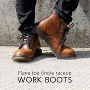 レースアップ ワークブーツ プレーントゥ メンズ シューズ 6インチ 革靴 紳士用 男性用 レザー 皮 革