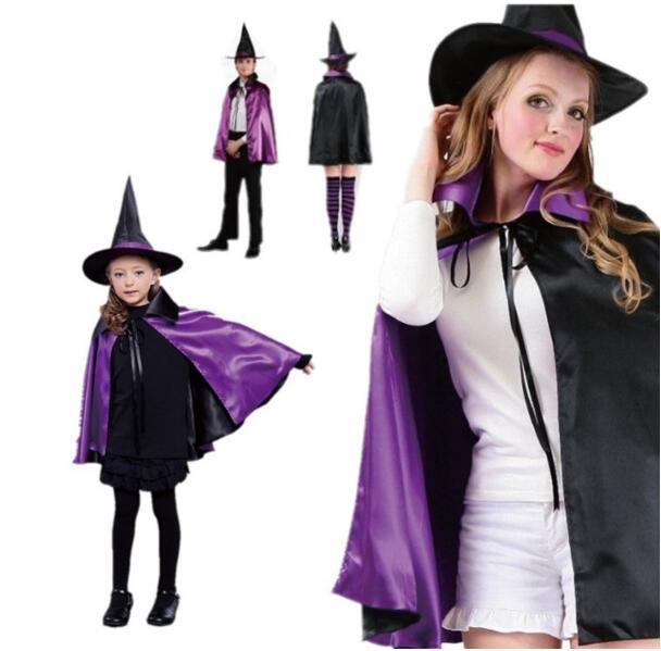 ハロウィン 万聖節 cosplay 魔法使い 魔女 マント+帽子 2点セット コスチューム