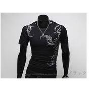 Tシャツ メンズ ストレッチ カットソー 半袖 Uネック プリント トップス お兄系 メンズファッション