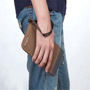 メンズ 長財布 ファスナー式手持ち財布 手持ちストラップ付き 高品質 ズック製 スーツにぴったり