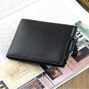 メンズ 二つ折り財布 高品質 合成皮革ファスナー式小銭入れ付き カードポケット