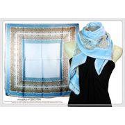 大判正方形オリエンタル柄100%シルク綾織スカーフ  06137