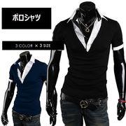 ポロシャツ メンズ Tシャツ カットソー 半袖 レイヤード襟付き ゴルフウェア トップス メンズファッション