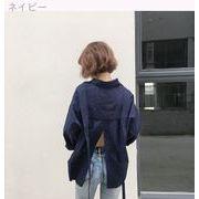 初秋 新しいデザイン 女性服 ルース 着やせ 気質 単一色 スプリット 学生 何でも似合