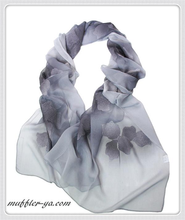 グラデーションフラワー刺繍入りロングストール/スカーフ 1787b