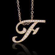 aネックレス≪F≫ K18 コーティング イニシャルネックレス   ゴールド ホワイトゴールド ピンクゴールド