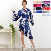 1022孔雀柄斜めカット着物ドレス 和柄 衣装 ダンス よさこい 花魁 コスプレ キャバドレス
