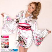 【新色追加】0326サテン和柄豪華花魁ミニ着物ドレス 和柄 よさこい 花魁 コスプレ キャバドレス
