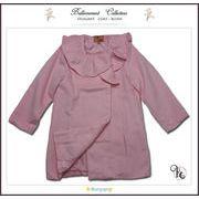 フォーマルに映えるフリル襟英国テイストのAラインPコート(JPBt)ライトピンク 100-125cm