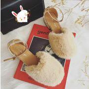 ★秋冬シューズ★ふわふわ ローヒール ファー レディース シューズ  靴 もこもこ 秋冬 3色